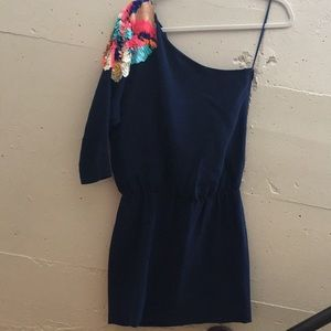 One shoulder sequined mini dress